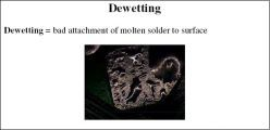 Dewetting = bad attachment of molten solder to surface